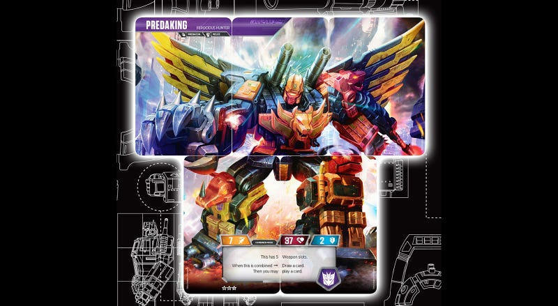 Illustration for article titled Five Transformers Trading Cards Combine To Form Predaking