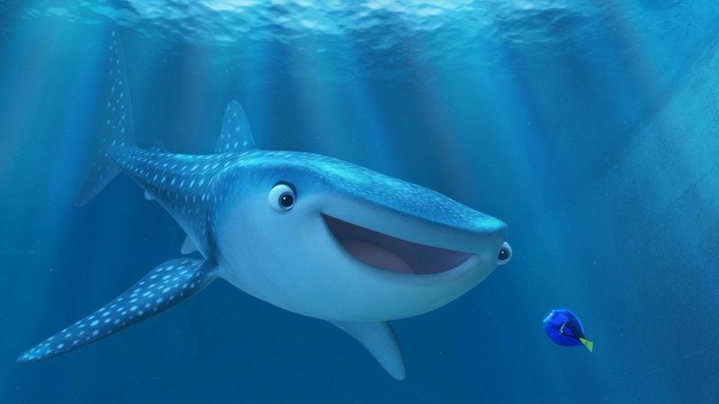 Destiny the whale shark from Finding Dory, who will probably not show up on Shark Week (Photo: Disney/Pixar)