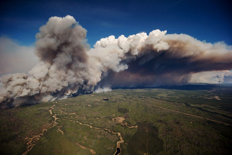 Meteorologists need to give climate context for extreme weather events like the Fort McMurray fire. (Image: Getty Images)