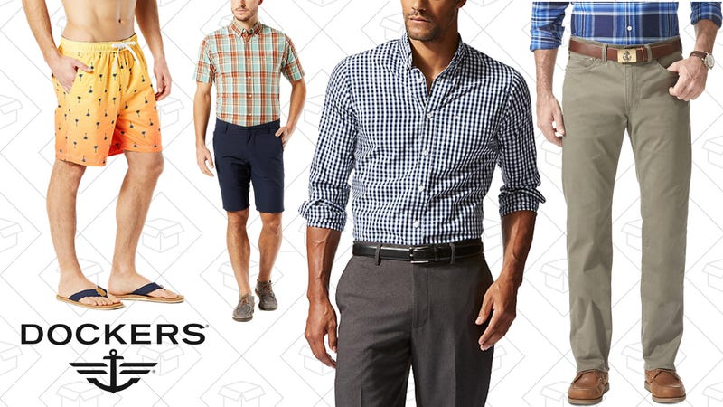 Palm Sunset Trunk, $28 | Alpha On-The-Go Short, $18 | No Wrinkle Shirt, Classic Fit, $24 | Jean Cut, Straight Fit Khakis, $24