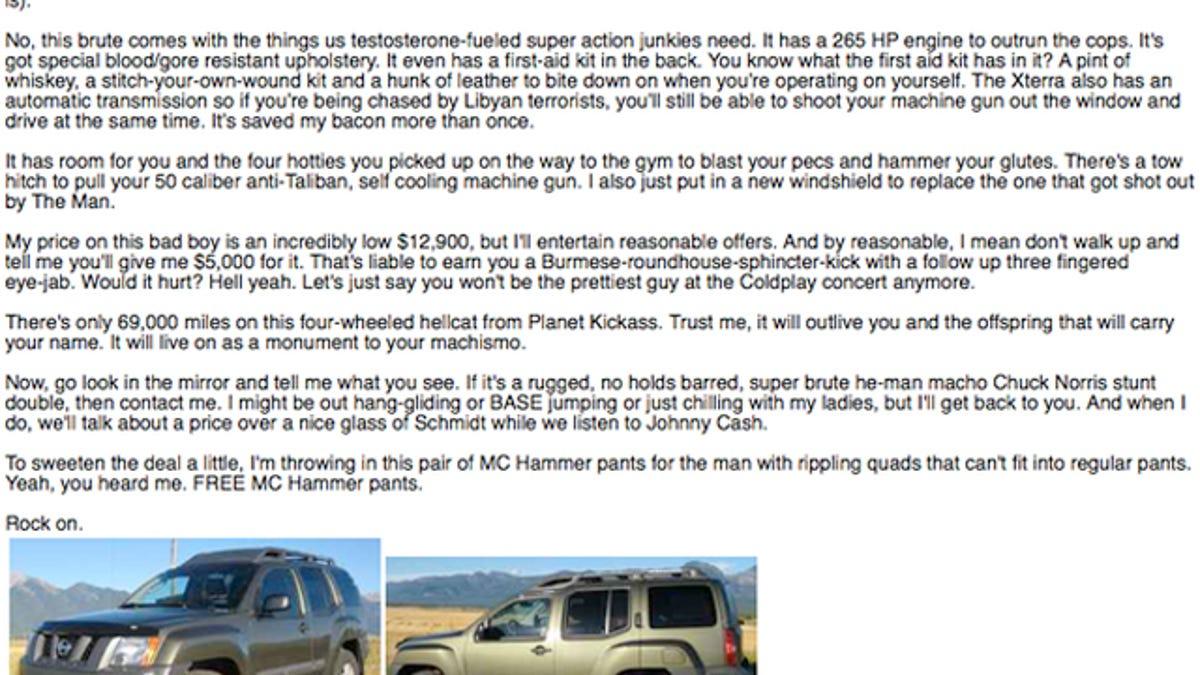 Contemporary Craigslist Car Ad Template Frieze - Documentation ...