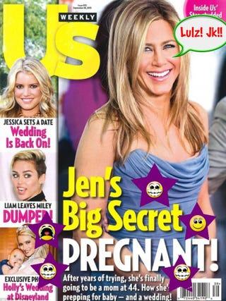 Illustration for article titled Top 10 Jennifer Aniston Pregnancy Headlines
