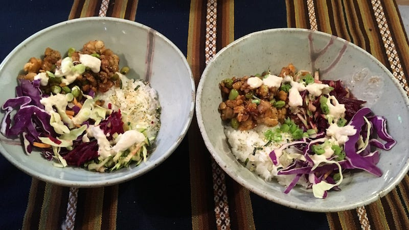 His and Hers purple power bowls.