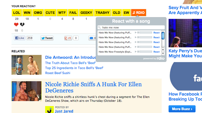 Illustration for article titled BuzzFeed's New Rdio Button Lets You React to a Post with a Song