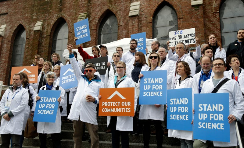 Scientists at a rally at the American Geophysical Union conference in December, 2016. Image: AP