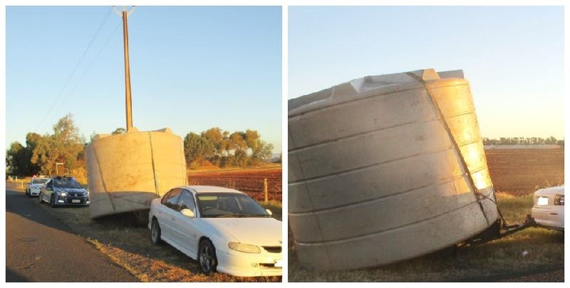 Illustration for article titled Unlicensed Driver On Meth Caught Dragging Massive Water Tank With Unregistered Vehicle