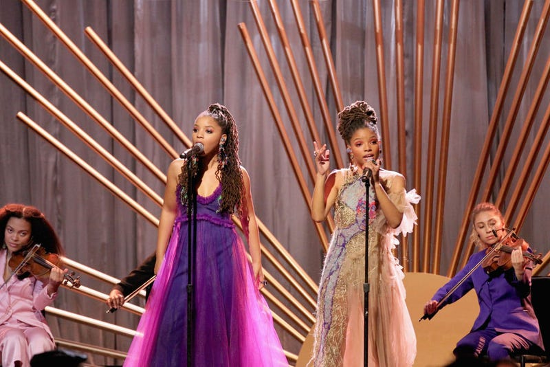 Chloe Bailey and Halle Bailey perform during the 2018 Essence Black Women In Hollywood Oscars Luncheon at the Regent Beverly Wilshire Hotel on March 1, 2018, in Beverly Hills, Calif.