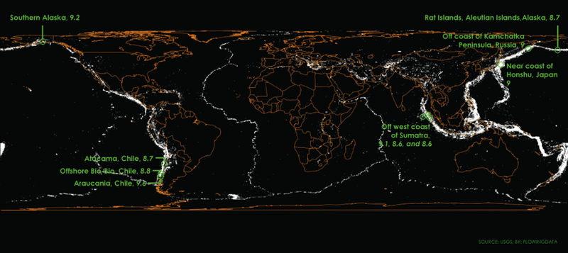 Illustration for article titled A Map Of Every Earthquake Over The Last Century