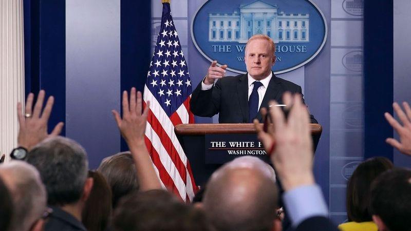 Illustration for article titled Sean Spicer Given Own Press Secretary To Answer Media's Questions About His Controversial Statements