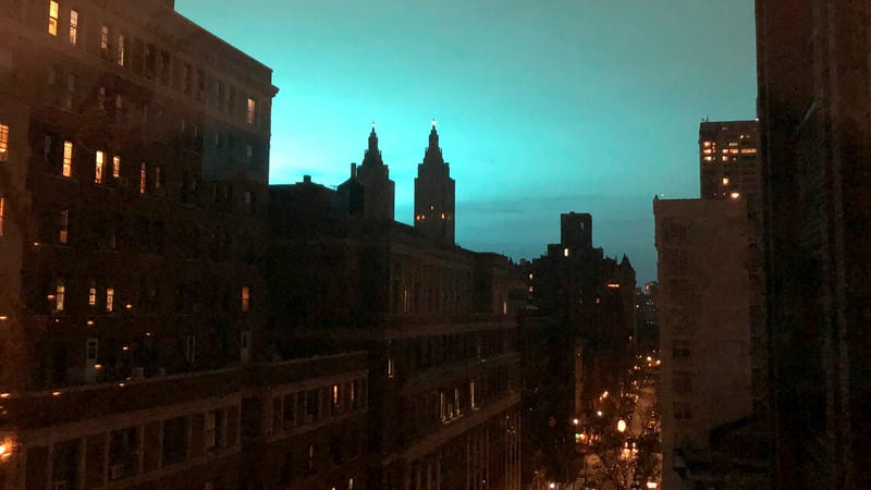 This photo shows blue light over New York, as seen from Manhattan Borough of New York on Thursday, Dec. 27, 2018.