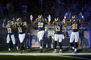 St. Louis Rams players expressing solidarity with Michael BrownCBS screenshot
