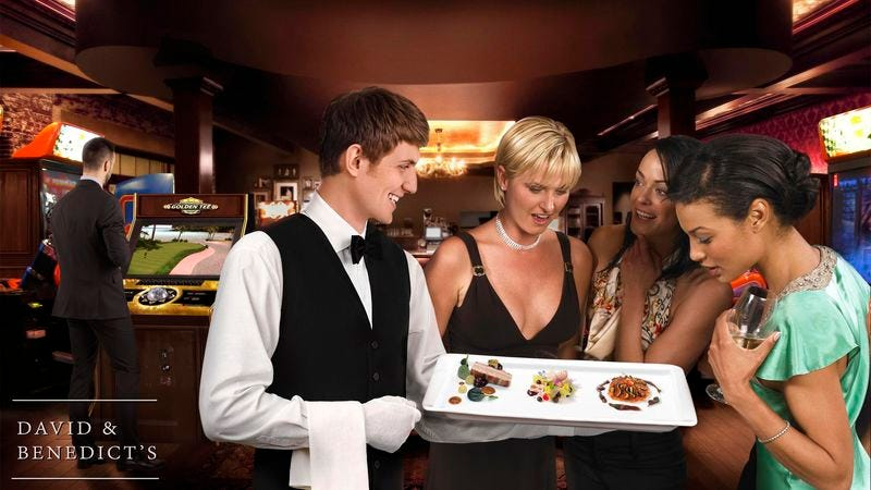 According to a company spokesperson, elevated hors d'oeuvres such as tater tots served with a duck and veal demi-glace dippin' sauce are just part of what makes David & Benedict's happy hour such a distinctive experience.