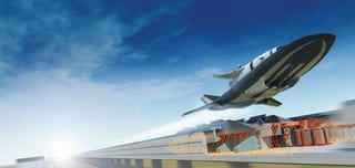 Illustration for article titled NASA Engineers Propose Combining a Rail Gun and a Scramjet to Fire Spacecraft Into Orbit
