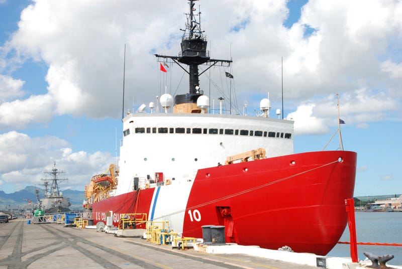In this Monday, Dec. 12, 2016 photo, the U.S. Coast Guard Cutter Polar Star rests by a dock in Pearl Harbor, Hawaii. The only U.S. ship capable of breaking through Antarctica's thick ice is undergoing repairs in balmy Hawaii this week as it prepares to head south. (AP Photo/Audrey McAvoy)