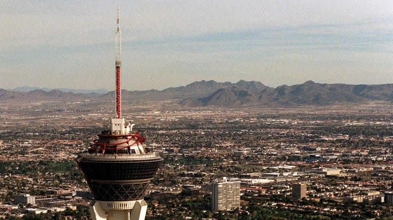 The Stratosphere Hotel on the Las Vegas Strip in the Nevada Desert.