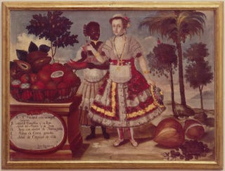 Vicente Albán, Patrician Lady and Her Black Slave, from a set of six paintings, 1783. Oil on canvas, 109 by 80 cm.Museo de America, Madrid