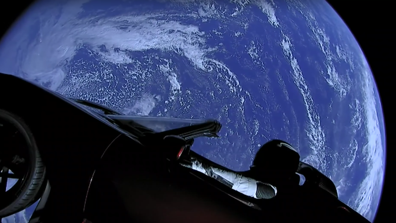 The Tesla Roadster on camera in a livestream from space.