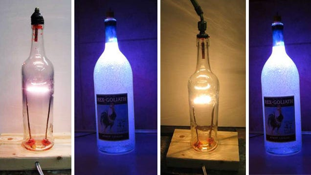 Diy glass bottle lamp for How to make a lamp out of a glass bottle