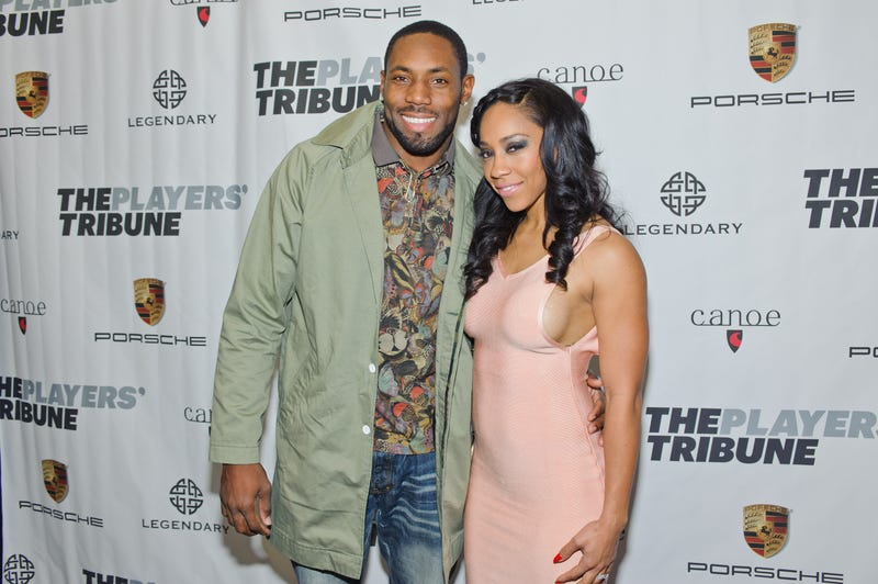 Antonio Cromartie and his wife, Terricka Carson Cromartie, in New York City on Feb. 14, 2015Timothy Hiatt/Getty Images for The Players' Tribune