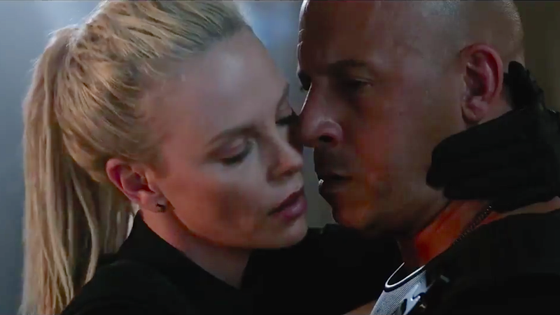 Screengrab of smooching via The Fate of the Furious.