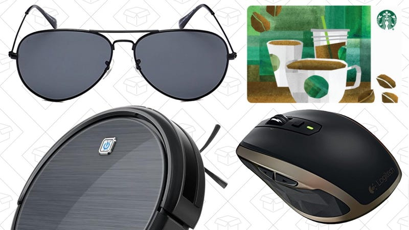 Illustration for article titled Today's Best Deals: 50% Off Starbucks Gift Cards, Eufy RoboVac Exclusive, Logitech Gear, and More
