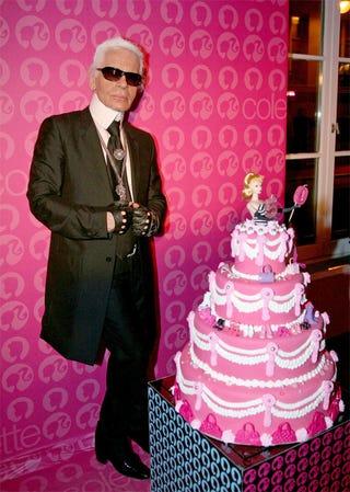 Illustration for article titled Bendable Karl Lagerfeld: Let Them Eat (Barbie) Cake