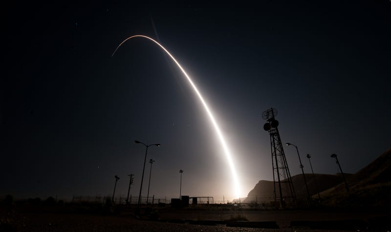An unarmed Minuteman III intercontinental ballistic missile launches during an operational test April 26, 2017, from Vandenberg Air Force Base, Calif. (United States Air Force)