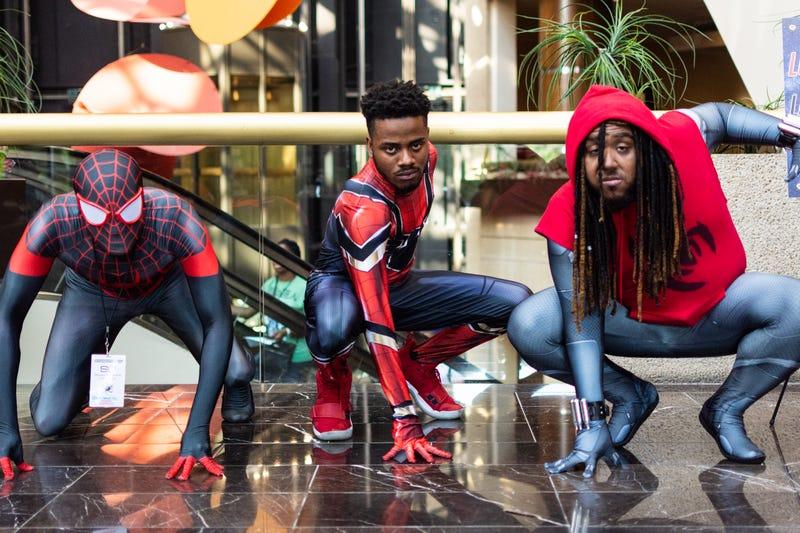 Three Spider-Men Pose at BlerdCon 2019 in Washington, D.C.