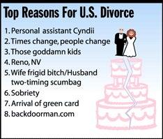 Illustration for article titled Top Reasons For U.S. Divorce