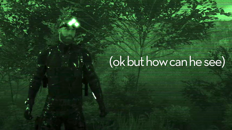 Illustration for article titled Sam Fisher Would Not Approve OfGhost Recon's Night Vision Goggles