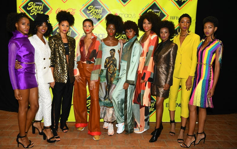 Models attend 2018 Essence Street Style Festival on September 9, 2018 in Brooklyn City.