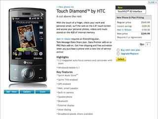 Illustration for article titled Sprint HTC Touch Diamond Now Available Online