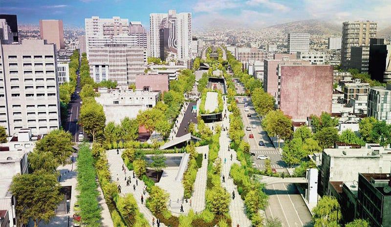 Illustration for article titled México DF convertirá esta avenida en un espectacular parque elevado