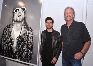 "Photographer Jesse Frohman and Morrison Hotel Gallery owner Peter Blachley attend the ""Kurt Cobain by Jesse Frohman"" exhibition press preview & reception at the Morrison Hotel Gallery on April 5, 2012, in New York City. (Fernando Leon/Getty Images"