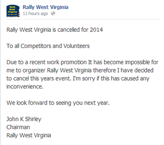Illustration for article titled Sad news for anyone planning on attending Rally West Virginia