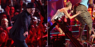 Justin Timberlake (Jemal Countess/Getty Images); Miley Cyrus (Michael Loccisano/Getty Images)