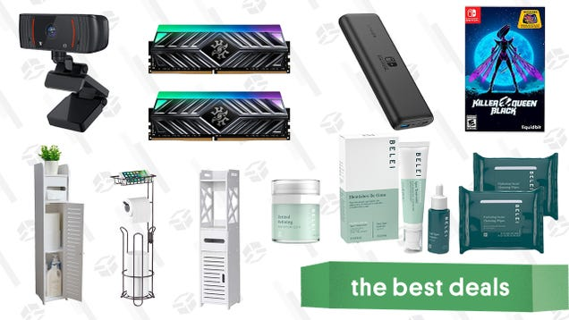 Sunday s Best Deals: Belei Skincare Sale, Killer Queen Black, 16GB DDR4 XPG RAM, Nintendo Switch Anker Powerbank, 1080p Webcam, Bathroom Organizers, and More