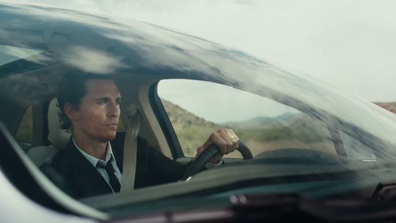 Matthew Mcconaughey Drives In A Flat Circle Slinging Cars For Lincoln