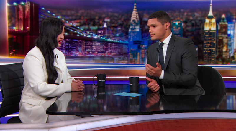 "Amanda Nguyen tells Trevor Noah about being Nobel-nominated for ""helping people pen their civil rights"""
