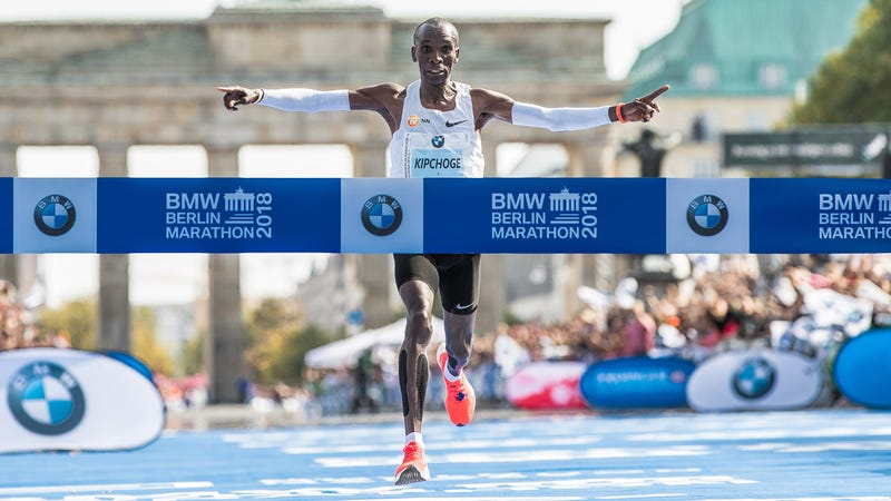 Illustration for article titled Eliud Kipchoge Breaks Marathon World Record By More Than A Minute