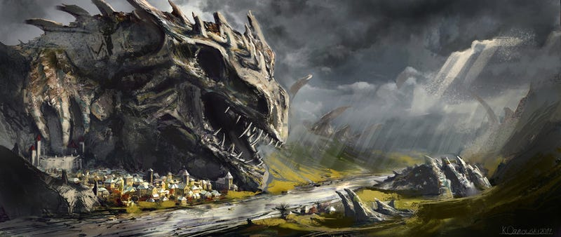 Illustration for article titled Concept Art Writing Prompt: A Village Sheltered by a Dragon's Corpse