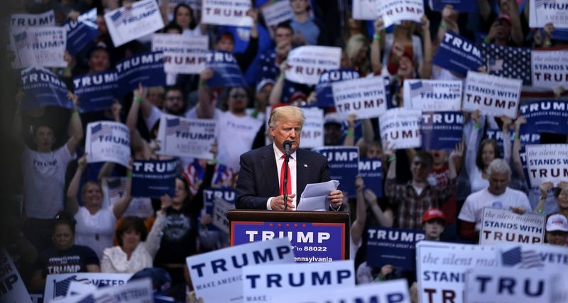 Republican presidential candidate, Donald Trump speaks at a campaign rally Monday, April 25, 2016, in Wilkes-Barre, Pa. (AP Photo/Mel Evans)