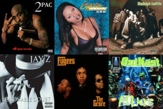 Classic 1996 hip-hop albums. Top row: 2Pac's All Eyez on Me; Foxy Brown's Ill Na Na; the Roots' Illadelph Halflife. Bottom row: Jay Z's Reasonable Doubt; the Fugee's The Score; OutKast's ATLiens.