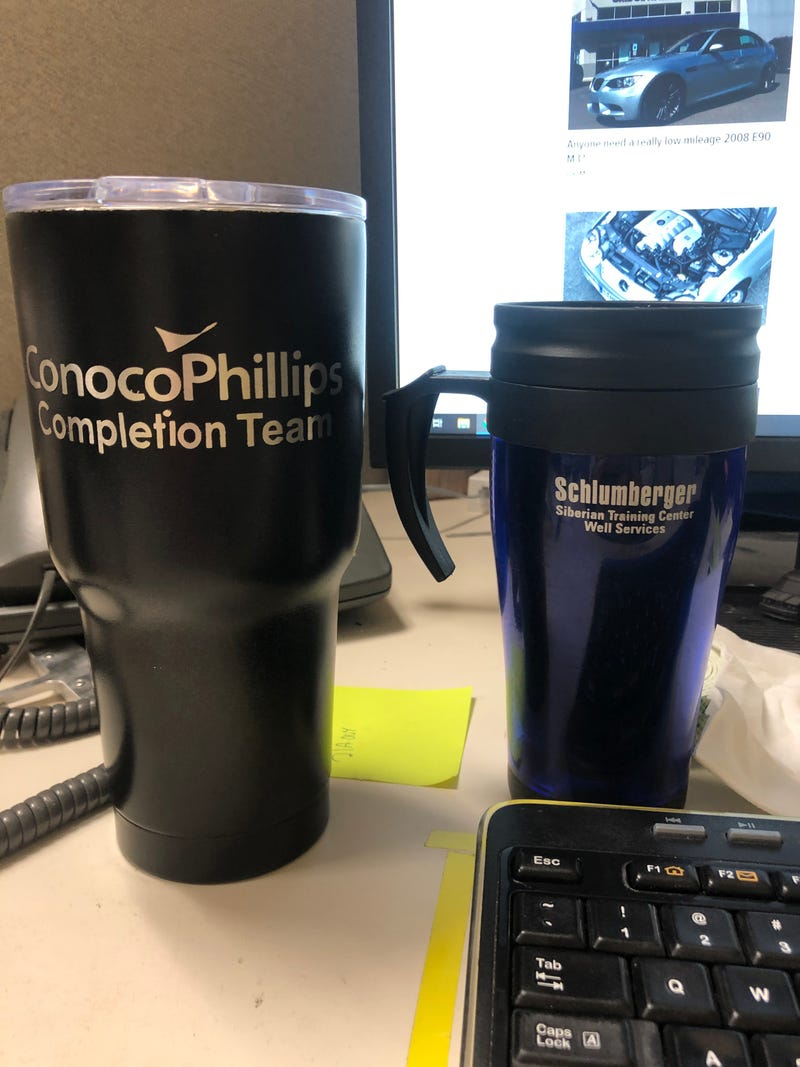 Illustration for article titled Morning oppo, just realized both my work beverage containers today are from another life