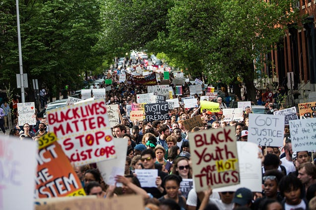 "Students from Baltimore colleges and high schools march in protest chanting ""Justice for Freddie Gray"" on April 29, 2015, in Baltimore."