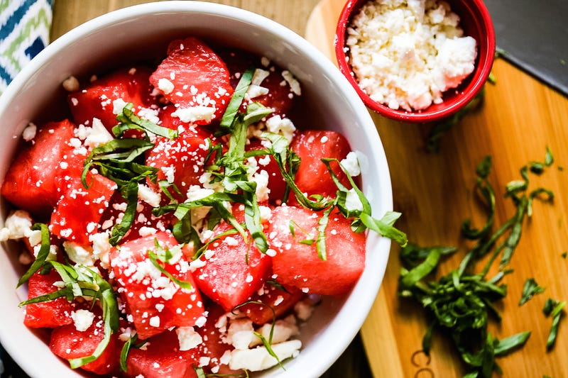 Watermelon with feta salad. Peep my food photography game. (Courtesy of author)