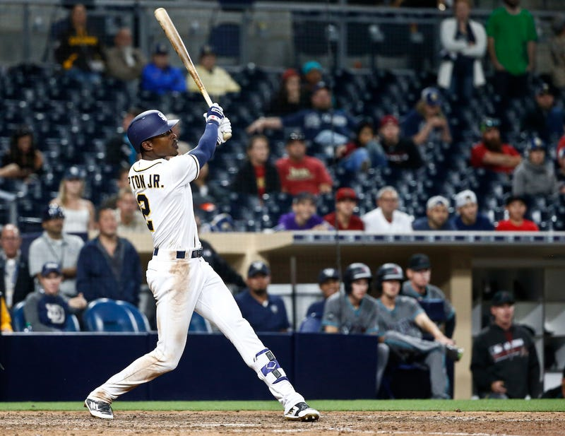 Melvin Upton Jr. watching his walk-off dinger get up on out of the yard. Via AP.