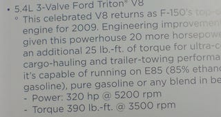 Illustration for article titled 2009 Ford F-150 5.4-Liter V8 Power Ratings Leaked On To Internet