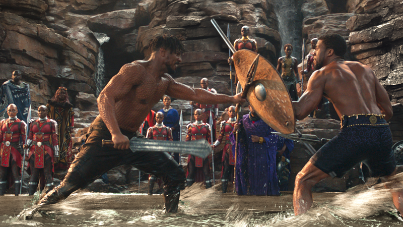 Killmonger (Michael B. Jordan) and T'Challa (Chadwick Boseman) face off in Black Panther.