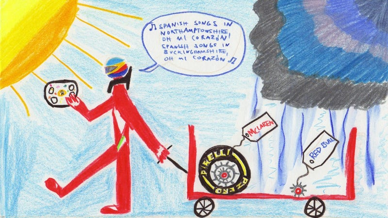 Illustration for article titled The 2011 British Grand Prix in Crayola
